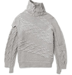 Burberry Runway Oversized Patchwork Cable-Knit Cotton-Blend Sweater
