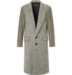 Burberry Runway Donegal Herringbone and Wool-Tweed Coat