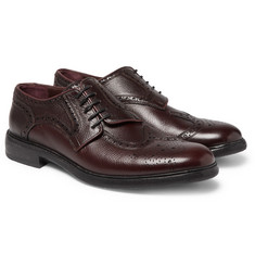 Burberry - Runway Asymmetric Pebble-Grain Leather Wingtip Brogues