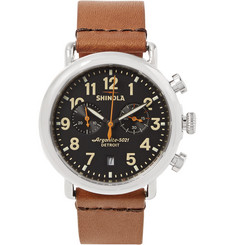 Shinola - The Runwell 41mm Stainless Steel and Leather Chronograph Watch