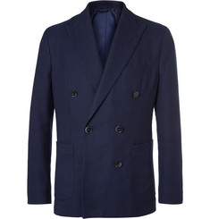 Hackett Blue Slim-Fit Double-Breasted Cotton and Wool-Blend Hopsack Blazer