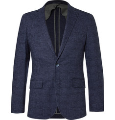Hackett Blue Mayfair Slim-Fit Checked Wool and Cotton-Blend Blazer