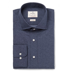 Hackett Blue Slim-Fit Cutaway-Collar Pin-Dot Cotton-Poplin Shirt
