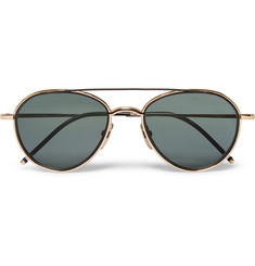 Thom Browne - Aviator-Style Black and Gold-Tone Metal Sunglasses