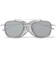 Thom Browne - Square-Frame Mesh-Trimmed Silver-Tone and Acetate Sunglasses