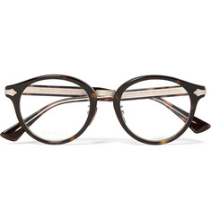 Gucci Round-Frame Tortoiseshell Acetate and Gold-Tone Optical Glasses