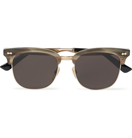 bd205ffd45 Gucci D-Frame Acetate And Gold-Tone Sunglasses In Brown ...