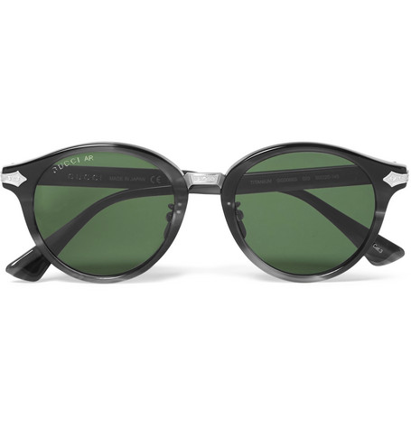 63f9796ed Shoptagr | Round Frame Acetate And Titanium Sunglasses by Gucci