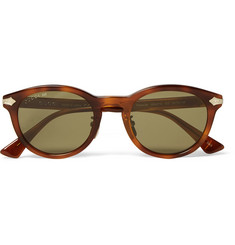Gucci Round-Frame Tortoiseshell Acetate and Titanium Sunglasses