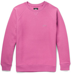 Stüssy Embroidered Fleece-Back Cotton-Jersey Sweatshirt