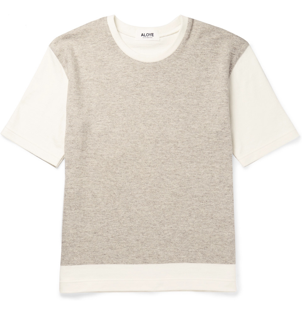 + G.f.g.s. Colour-block Knitted Cotton And Yak-blend T-shirt - Off-white