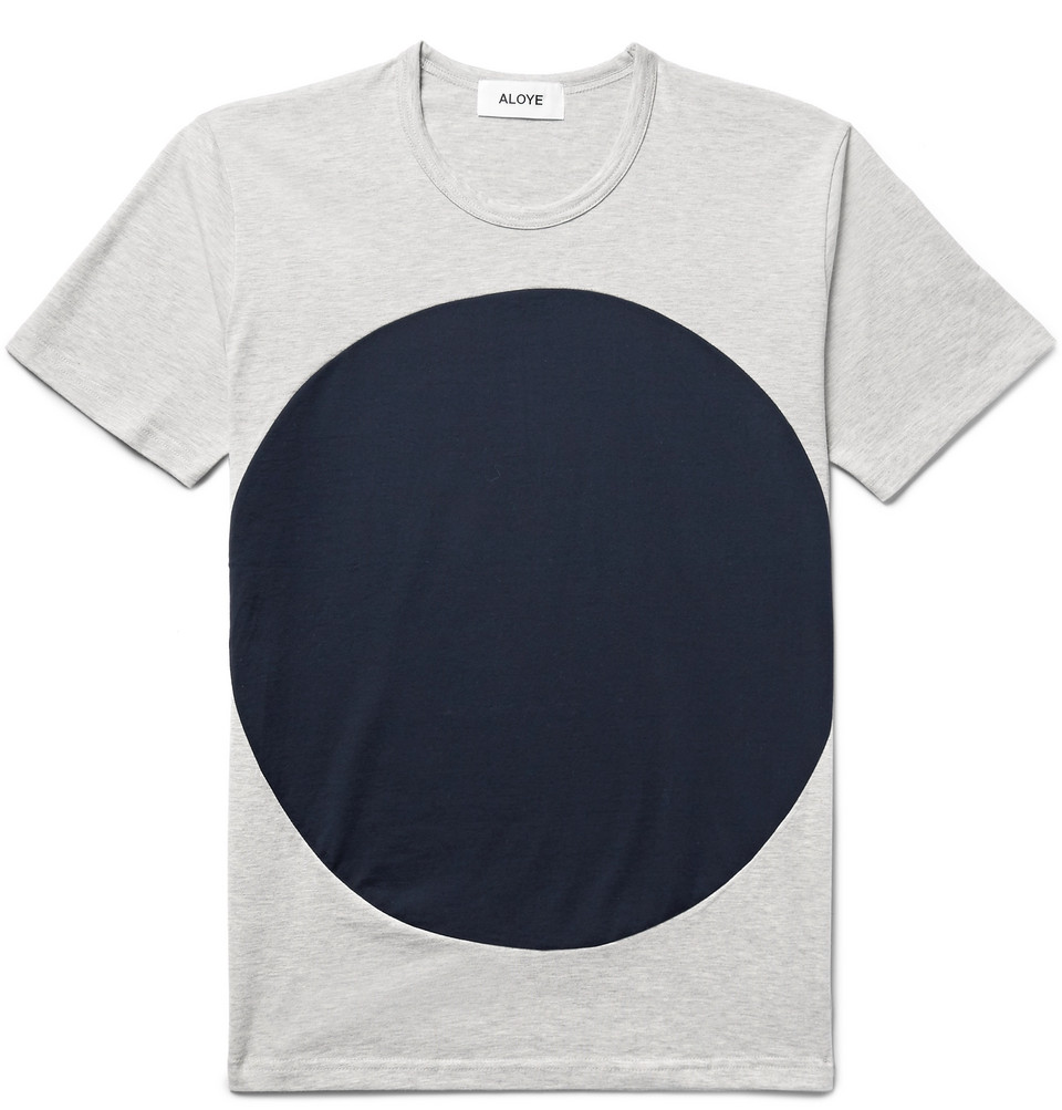 Circle Colour-block Cotton-jersey T-shirt - Light gray