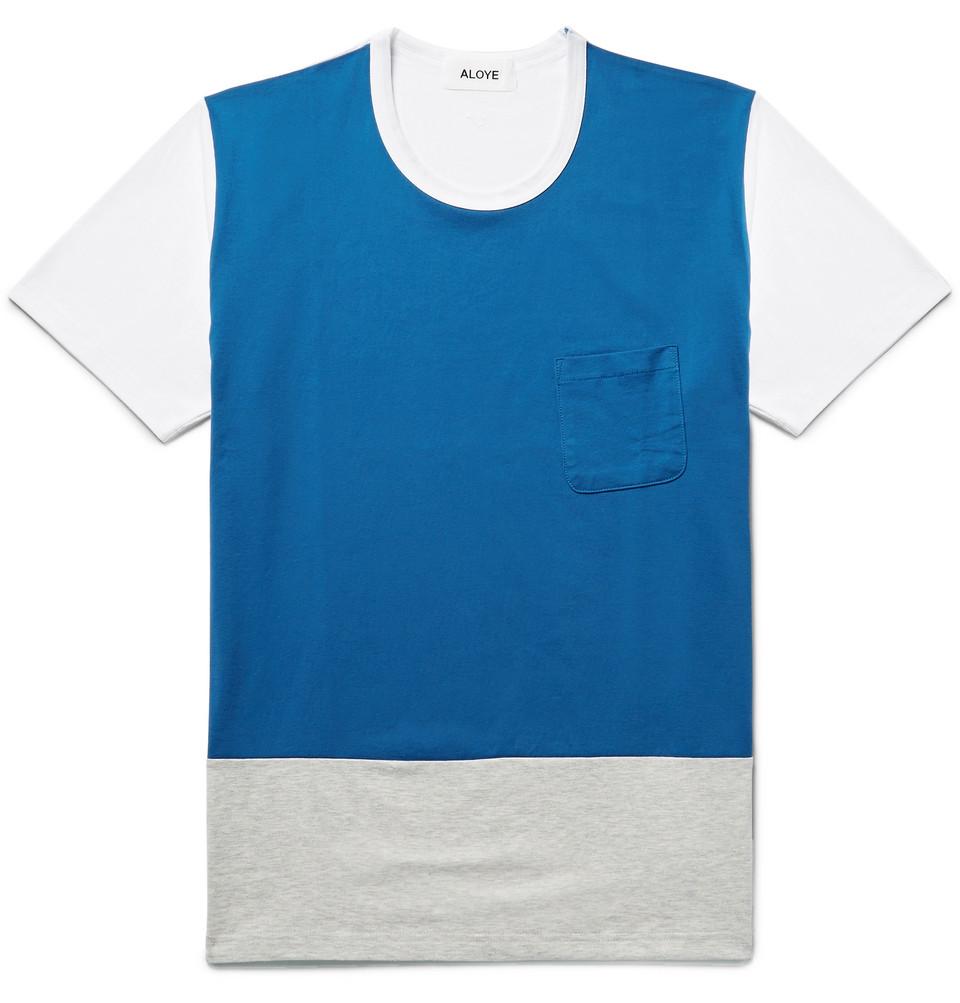 Colour-block Cotton-jersey T-shirt - Cobalt blue