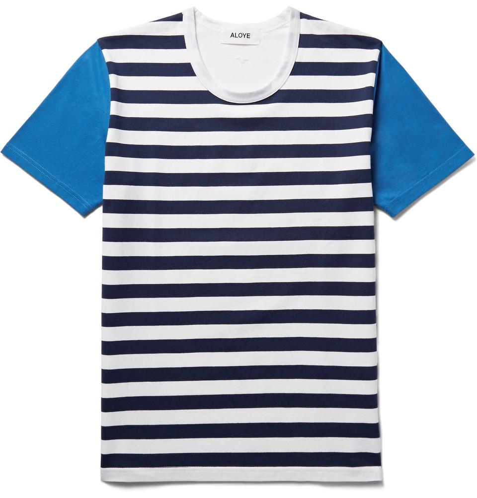 Striped Cotton-jersey T-shirt - Blue