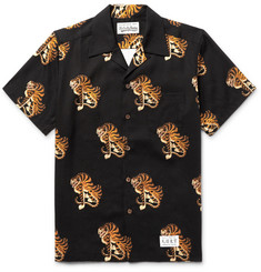 Wacko Maria Camp-Collar Tiger-Print Poplin Shirt