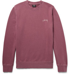 Stüssy Embroidered Loopback Cotton-Jersey Sweatshirt