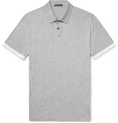 James Perse Contrast-Tipped Mélange Cotton Polo Shirt