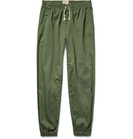 Mollusk Jeffrey Tapered Cotton-twill Drawstring Trousers - Green PCEO0