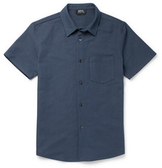 A.P.C. - Bryan Basketweave Cotton and Linen-Blend Shirt