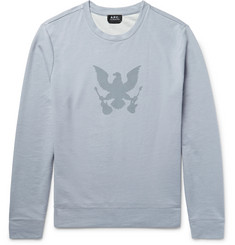 A.P.C. Printed Stonewashed Loopback Cotton-Jersey Sweatshirt