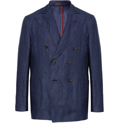 Rubinacci Blue Double-Breasted Linen Blazer