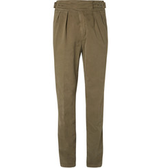 Rubinacci Manny Tapered Pleated Brushed Stretch-Cotton Trousers