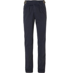 Rubinacci Manny Tapered Pleated Cotton Trousers