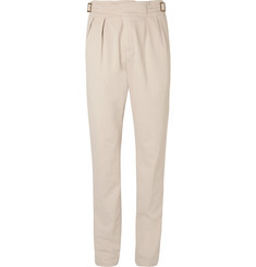 Rubinacci Manny Tapered Pleated Brushed-Cotton Trousers