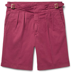 Rubinacci - Manny Pleated Stretch-Cotton Twill Shorts