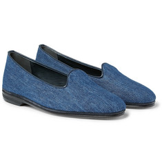 Rubinacci Leather-Trimmed Denim Loafers