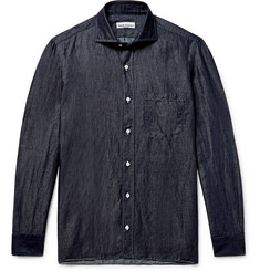 Rubinacci Slub Linen and Cotton-Blend Chambray Shirt