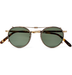 Garrett Leight California Optical Wilson 46 Round-Frame Tortoiseshell Acetate and Gold-Tone Optical Glasses with Clip-On UV Lenses