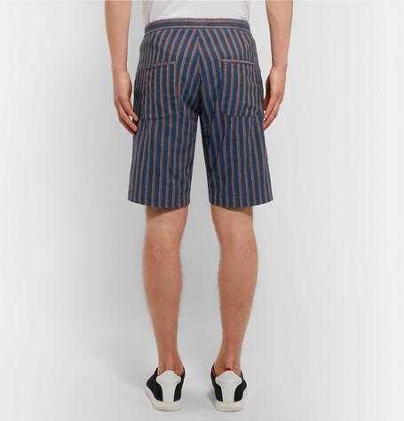 OLIVER SPENCER Striped Cotton-Jacquard Shorts