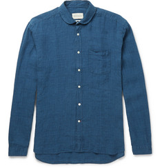 Oliver Spencer Penny-Collar Checked Linen Shirt