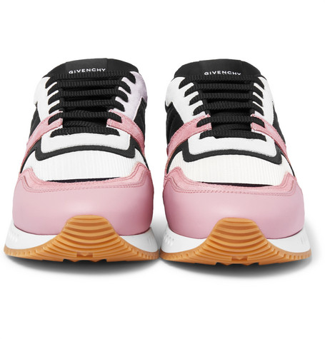 Panelled Mesh, Leather And Suede Sneakers - Pink