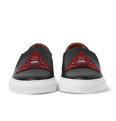 Givenchy - Appliquéd Leather Slip-On Sneakers