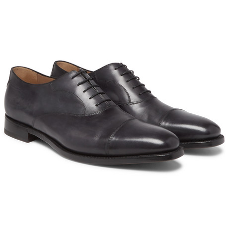 Roccia Cap-toe Polished-leather Oxford Shoes - Black