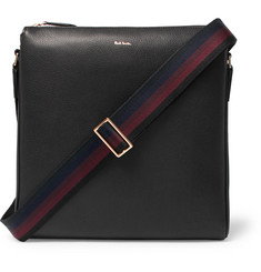 Paul Smith Webbing-Trimmed Full-Grain Leather Messenger Bag