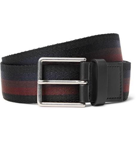 Paul Smith 3.5cm Leather-trimmed Striped Webbing Belt In Black