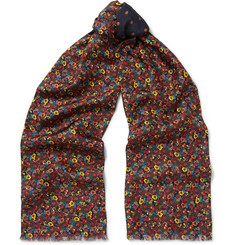 Paul Smith Double-Faced Printed Silk and Wool-Blend Scarf