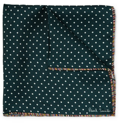 Paul Smith Stripe-Trimmed Polka-Dot Silk-Twill Pocket Square