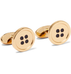 Paul Smith Button Gold-Tone Enamel Cufflinks