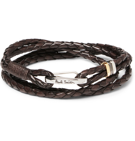 Paul Smith Woven Leather Wrap Bracelet In Brown