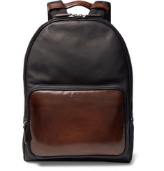 Berluti Time Off Suede-Trimmed Polished-Leather Backpack
