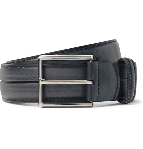 3.5cm Grey Gaspard Leather Belt - Dark gray