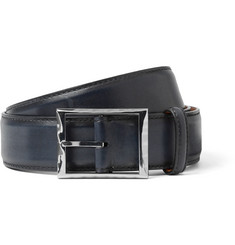 Berluti - 3.5cm Blue Polished-Leather Belt