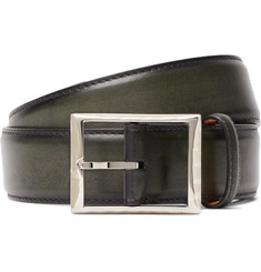 Berluti - 3.5cm Green Polished-Leather Belt