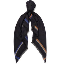 Berluti Fringed Cashmere, Silk, Wool and Cotton-Blend Jacquard Scarf