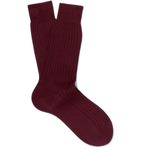 Ribbed Cotton Socks - Burgundy