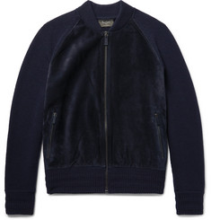Berluti Suede-Panelled Wool and Cashmere-Blend Bomber Jacket